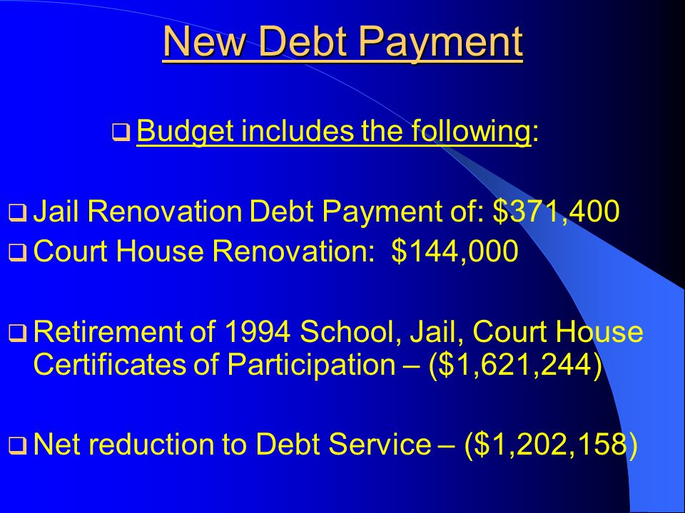 New Debt Payment  Budget includes the following:  Jail Renovation Debt Payment of: $371,400  Court House Renovation: $144,000  Retirement of 1994