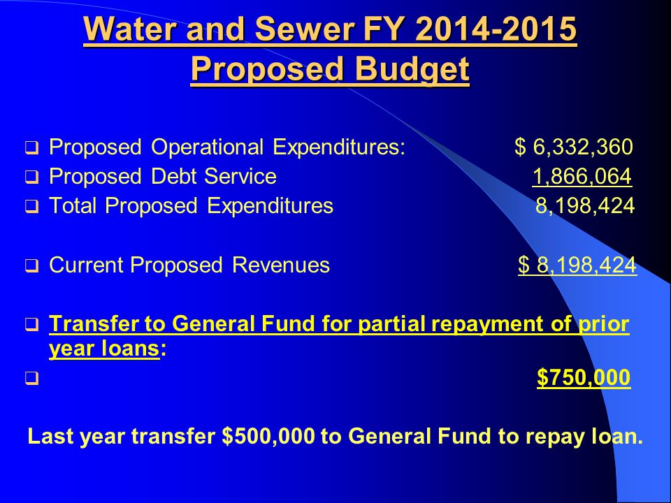 Water and Sewer FY 2014-2015 Proposed Budget  Proposed Operational Expenditures: $ 6,332,360  Proposed Debt Service 1,866,064  Total Proposed Expen