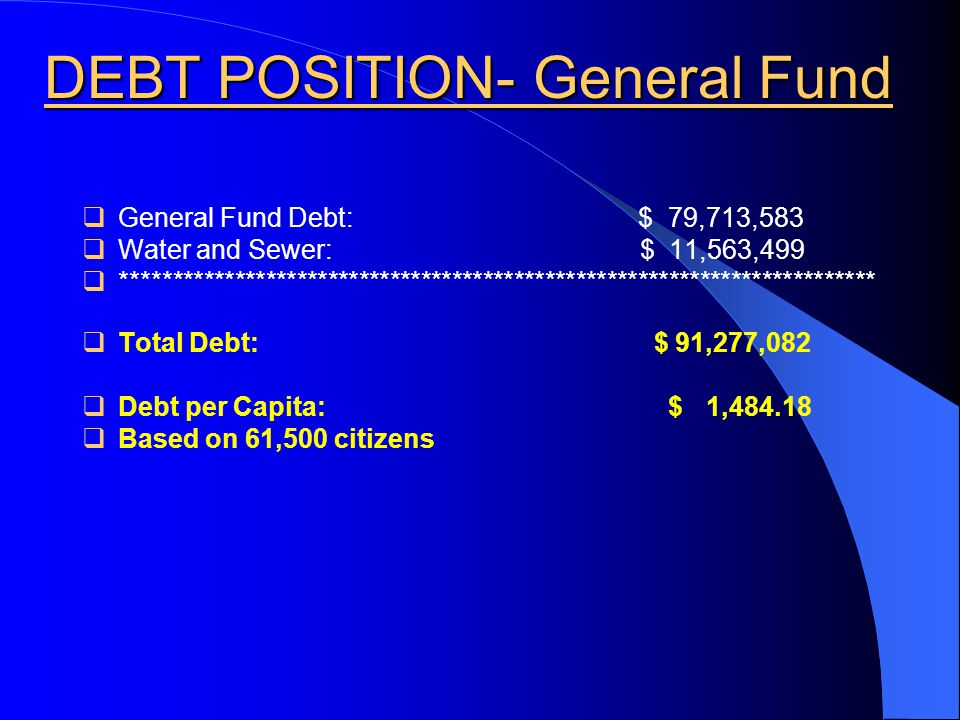 DEBT POSITION- General Fund  General Fund Debt: $ 79,713,583  Water and Sewer: $ 11,563,499  *************************************************************************  Total Debt: $ 91,277,082  Debt per Capita: $ 1,484.18  Based on 61,500 citizens