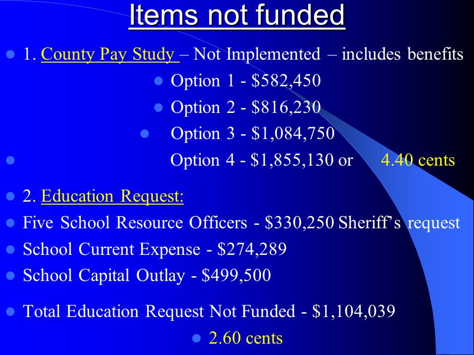 Items not funded 1. County Pay Study – Not Implemented – includes benefits Option 1 - $582,450 Option 2 - $816,230 Option 3 - $1,084,750 Option 4 - $1