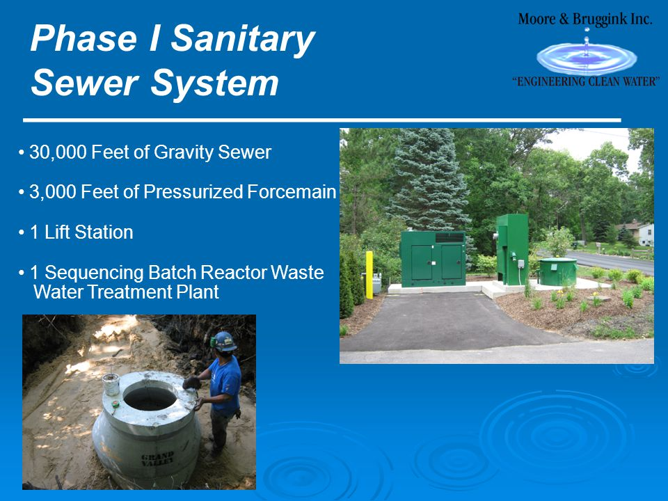 Phase I Sanitary Sewer System ________________________ 30,000 Feet of Gravity Sewer 3,000 Feet of Pressurized Forcemain 1 Lift Station 1 Sequencing Batch Reactor Waste Water Treatment Plant