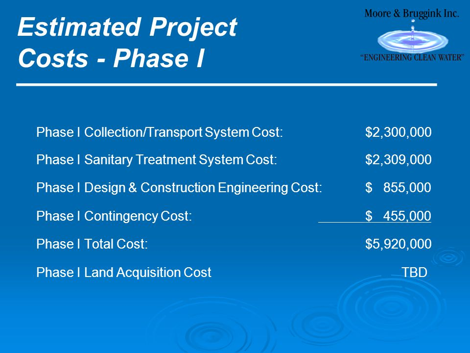 Estimated Project Costs - Phase I ________________________ Phase I Collection/Transport System Cost:$2,300,000 Phase I Sanitary Treatment System Cost:$2,309,000 Phase I Design & Construction Engineering Cost:$ 855,000 Phase I Contingency Cost:$ 455,000 Phase I Total Cost:$5,920,000 Phase I Land Acquisition Cost TBD