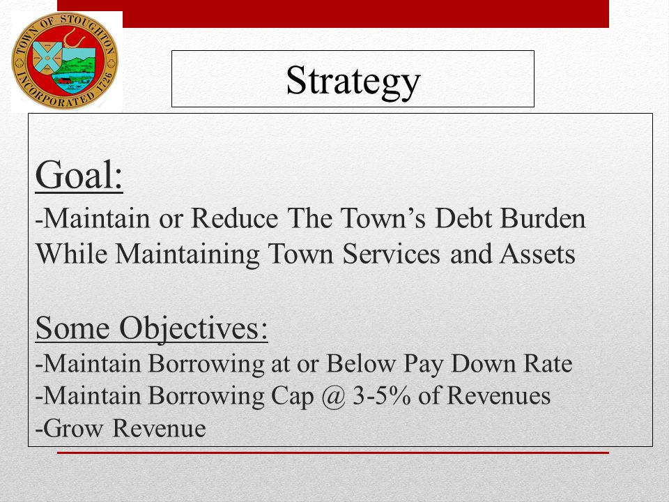 Goal: - Maintain or Reduce The Town's Debt Burden While Maintaining Town Services and Assets Some Objectives: -Maintain Borrowing at or Below Pay Down Rate -Maintain Borrowing Cap @ 3-5% of Revenues -Grow Revenue Strategy