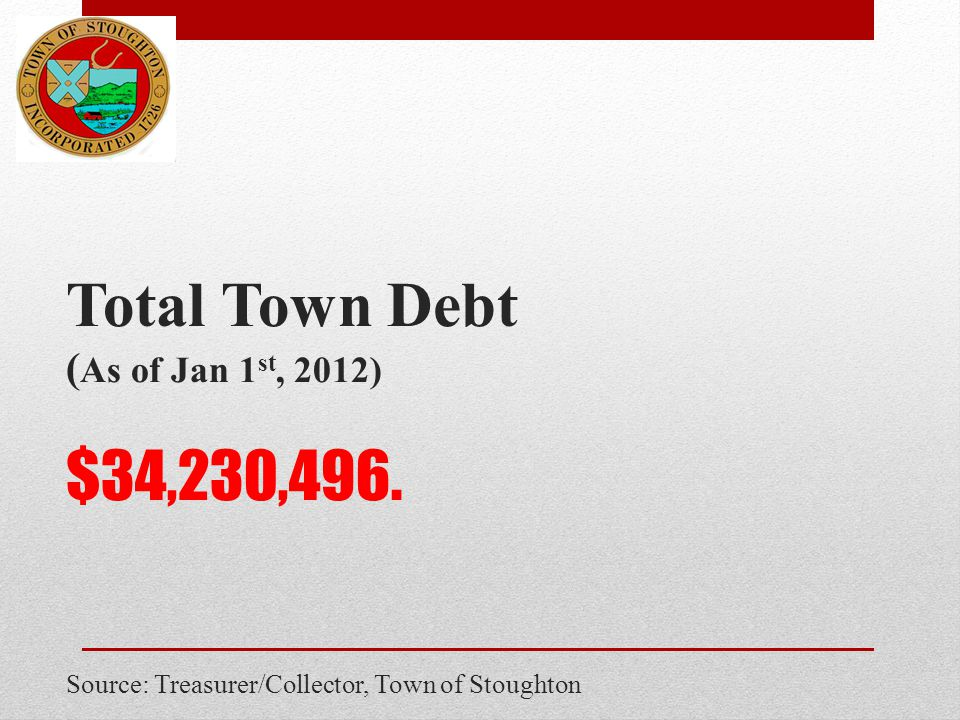 Total Town Debt ( As of Jan 1 st, 2012) $34,230,496. Source: Treasurer/Collector, Town of Stoughton