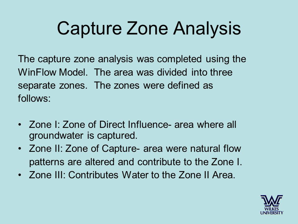 Capture Zone Analysis The capture zone analysis was completed using the WinFlow Model.