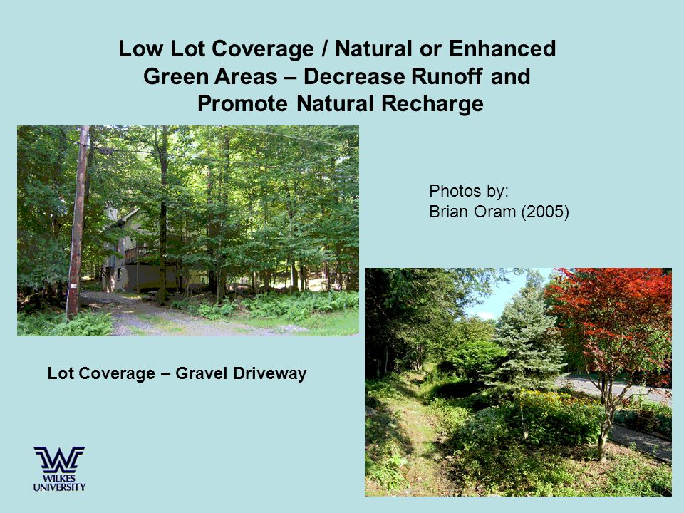 Low Lot Coverage / Natural or Enhanced Green Areas – Decrease Runoff and Promote Natural Recharge Lot Coverage – Gravel Driveway Photos by: Brian Oram (2005)