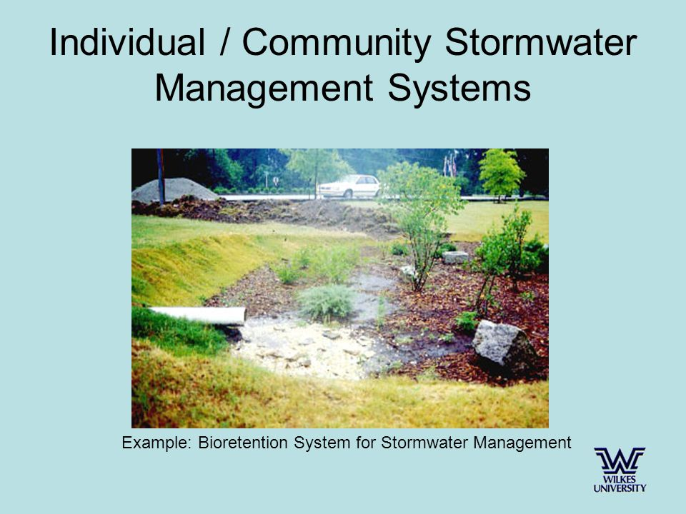 Individual / Community Stormwater Management Systems Example: Bioretention System for Stormwater Management