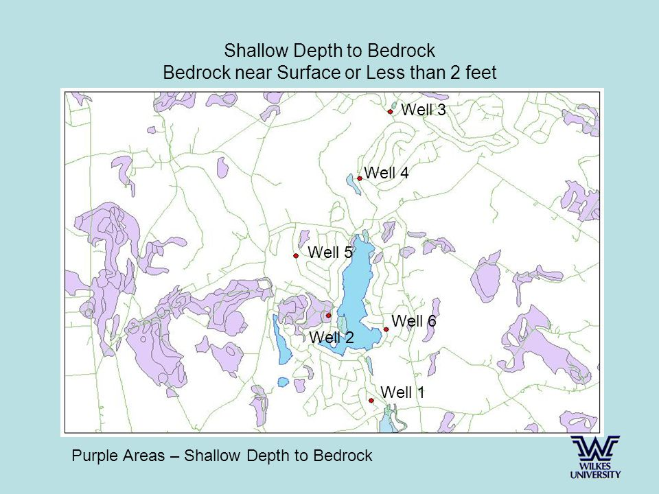 Shallow Depth to Bedrock Bedrock near Surface or Less than 2 feet Purple Areas – Shallow Depth to Bedrock Well 3 Well 4 Well 5 Well 6 Well 1 Well 2
