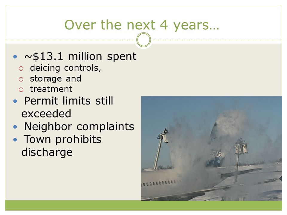 Over the next 4 years… ~$13.1 million spent  deicing controls,  storage and  treatment Permit limits still exceeded Neighbor complaints Town prohib