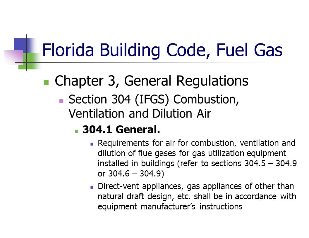 Florida Building Code, Fuel Gas Chapter 3, General Regulations Section 304 (IFGS) Combustion, Ventilation and Dilution Air 304.1 General. Requirements