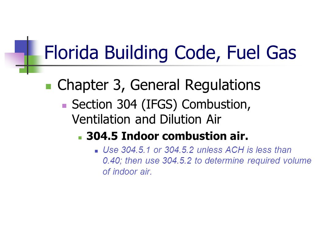 Florida Building Code, Fuel Gas Chapter 3, General Regulations Section 304 (IFGS) Combustion, Ventilation and Dilution Air 304.5 Indoor combustion air