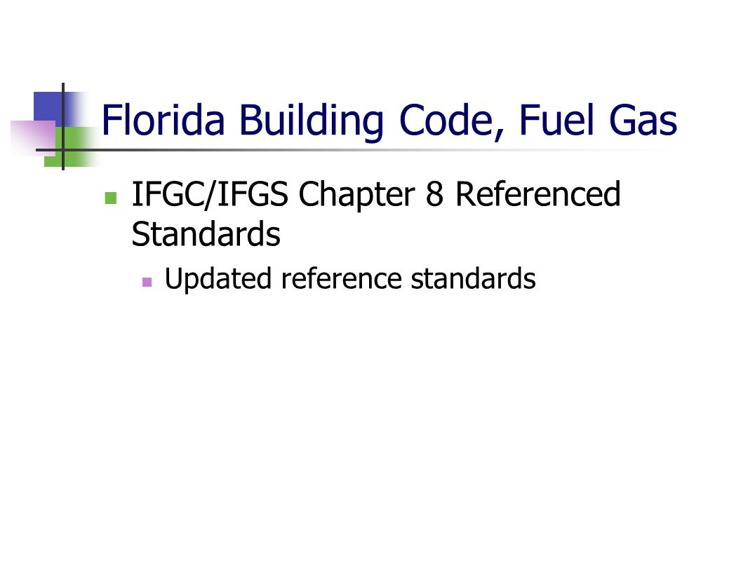Florida Building Code, Fuel Gas IFGC/IFGS Chapter 8 Referenced Standards Updated reference standards