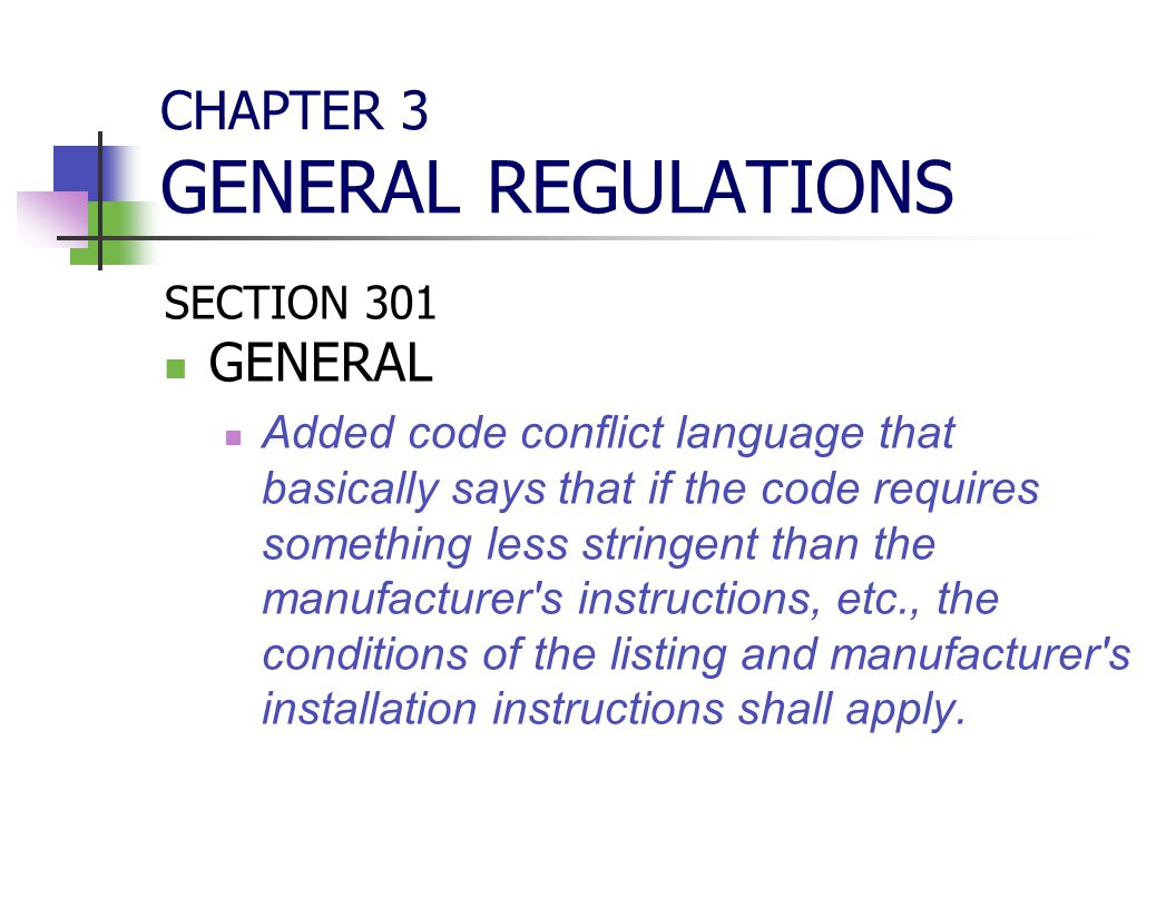 CHAPTER 3 GENERAL REGULATIONS SECTION 301 GENERAL Added code conflict language that basically says that if the code requires something less stringent