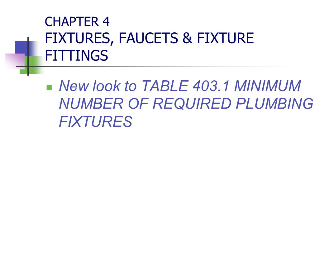 CHAPTER 4 FIXTURES, FAUCETS & FIXTURE FITTINGS New look to TABLE 403.1 MINIMUM NUMBER OF REQUIRED PLUMBING FIXTURES