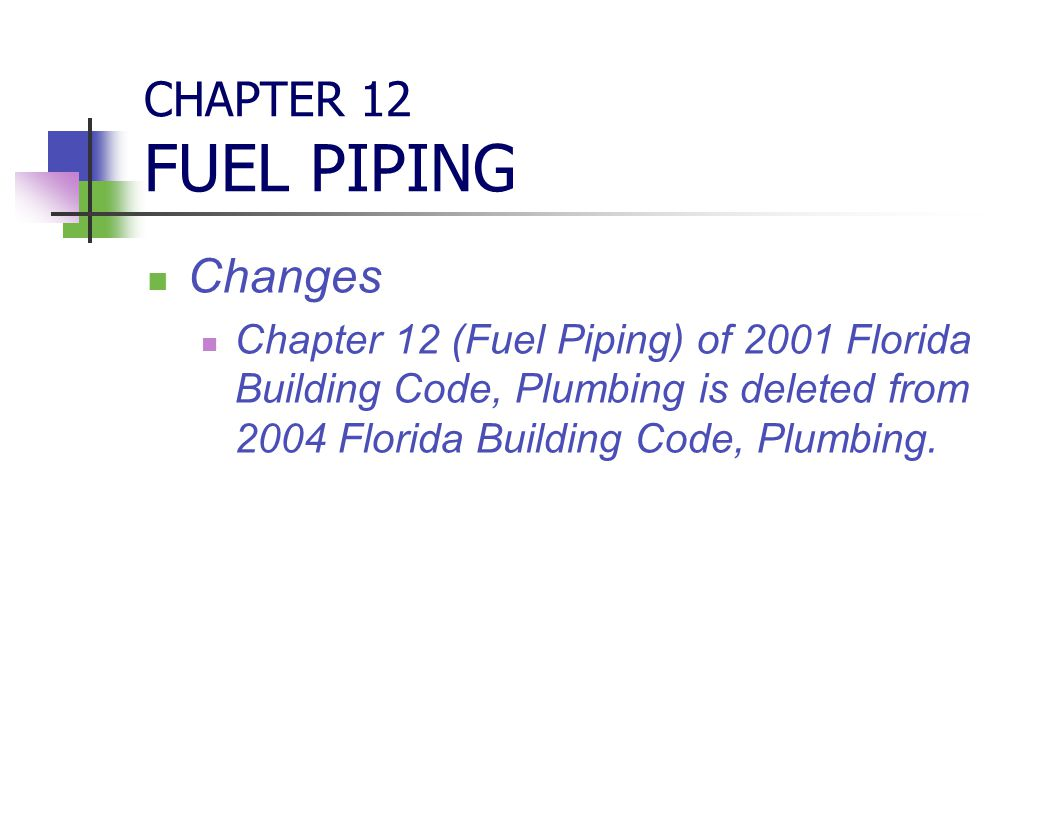 CHAPTER 12 FUEL PIPING Changes Chapter 12 (Fuel Piping) of 2001 Florida Building Code, Plumbing is deleted from 2004 Florida Building Code, Plumbing.