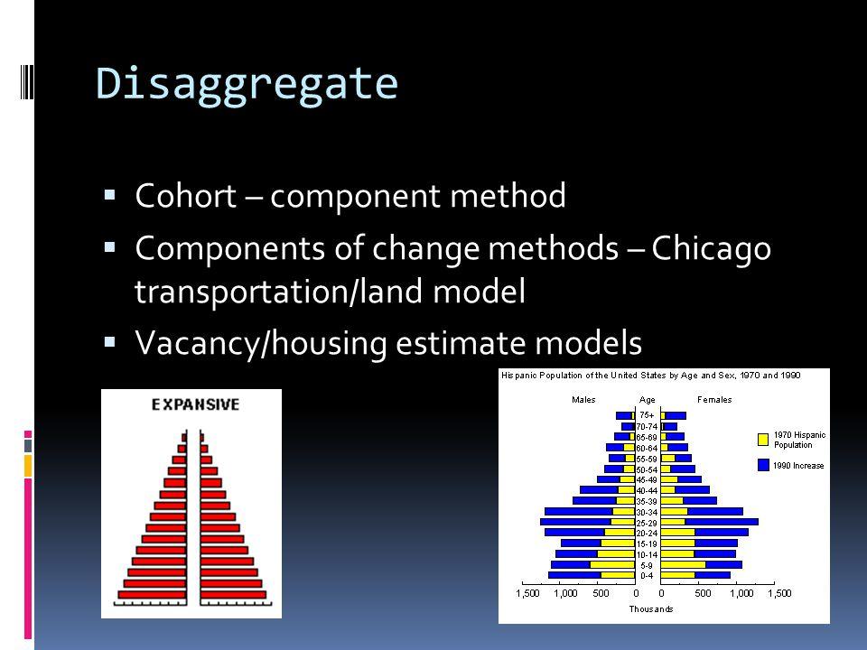 Disaggregate  Cohort – component method  Components of change methods – Chicago transportation/land model  Vacancy/housing estimate models