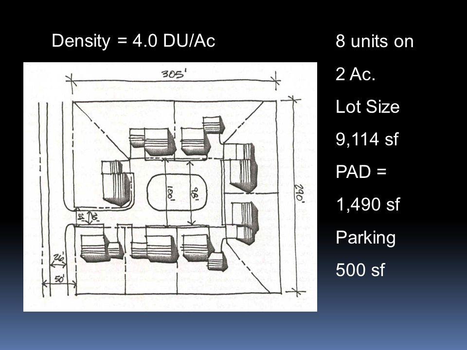 Density = 4.0 DU/Ac 8 units on 2 Ac. Lot Size 9,114 sf PAD = 1,490 sf Parking 500 sf