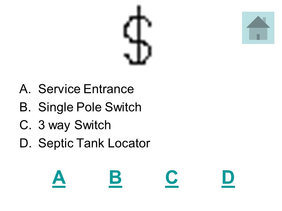 ABCDABCD A.Service Entrance B.Single Pole Switch C.3 way Switch D.Septic Tank Locator