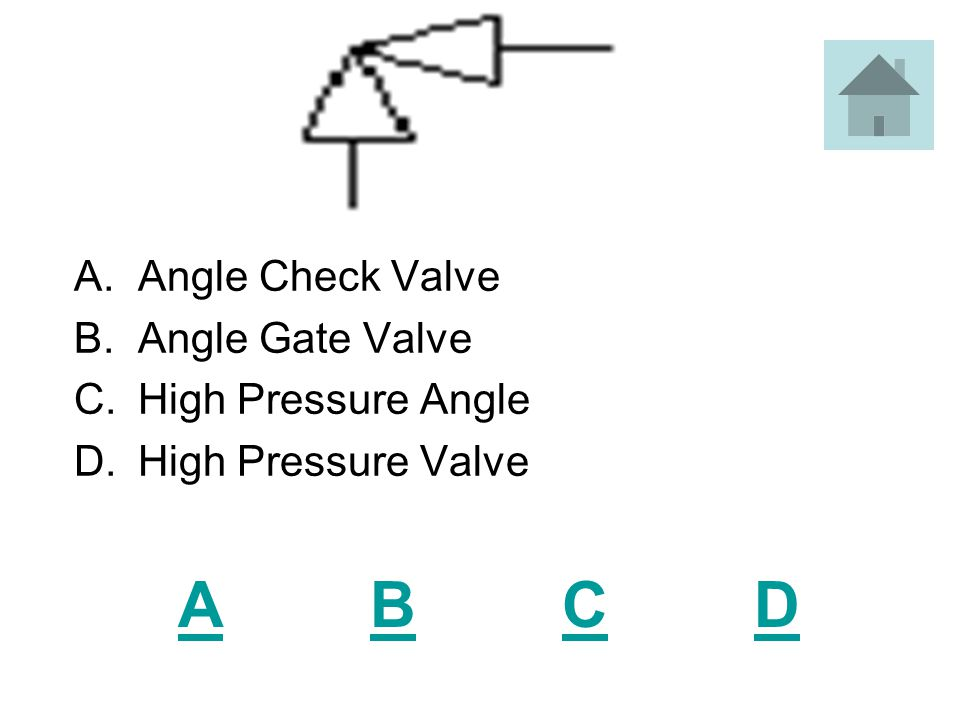ABCDABCD A.Gate Valve B.T Valve C.Pressure Pipe D.High Pressure Steam