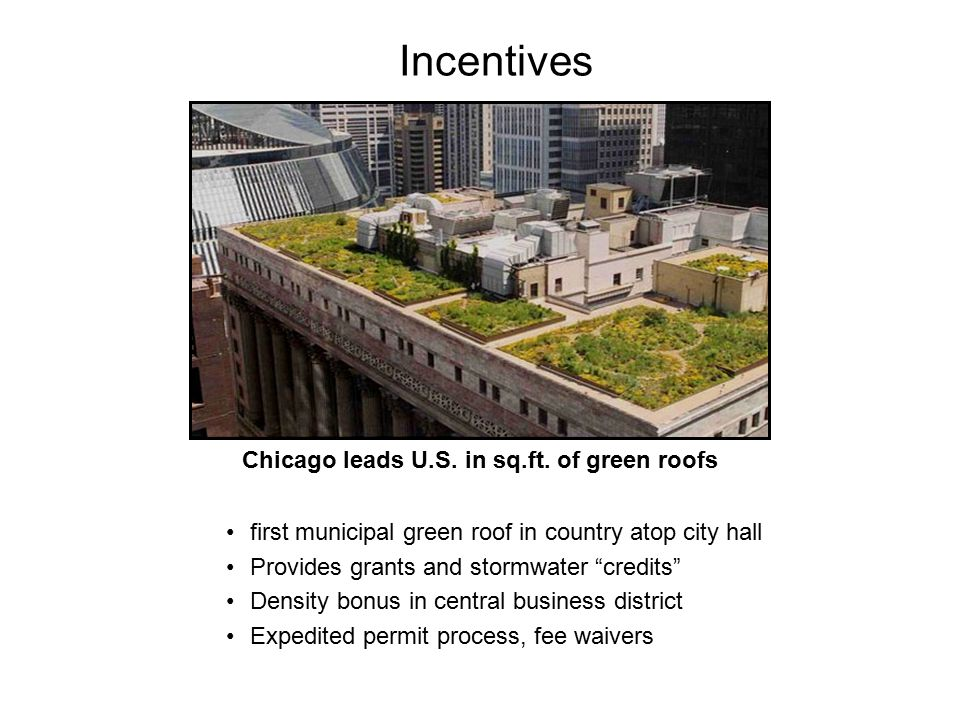 """first municipal green roof in country atop city hall Provides grants and stormwater """"credits"""" Density bonus in central business district Expedited per"""