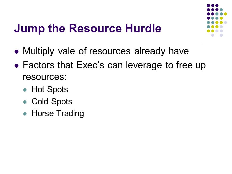 Jump the Resource Hurdle Multiply vale of resources already have Factors that Exec's can leverage to free up resources: Hot Spots Cold Spots Horse Tra