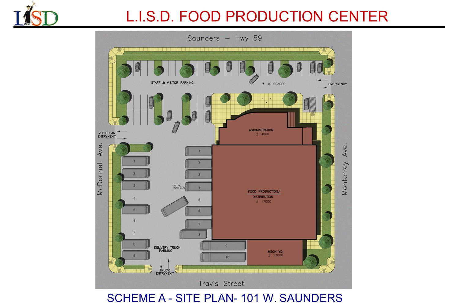 L.I.S.D. FOOD PRODUCTION CENTER SCHEME A - SITE PLAN- 101 W. SAUNDERS