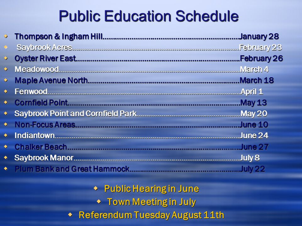 Public Education Schedule  Thompson & Ingham Hill……………………………………………………..….January 28  Saybrook Acres………………………………………………….......................Februar