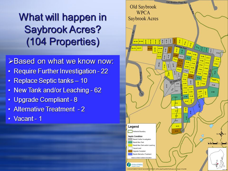  Based on what we know now: Require Further Investigation - 22Require Further Investigation - 22 Replace Septic tanks – 10Replace Septic tanks – 10 N