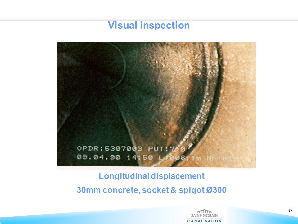 19 Visual inspection Longitudinal displacement 30mm concrete, socket & spigot Ø300
