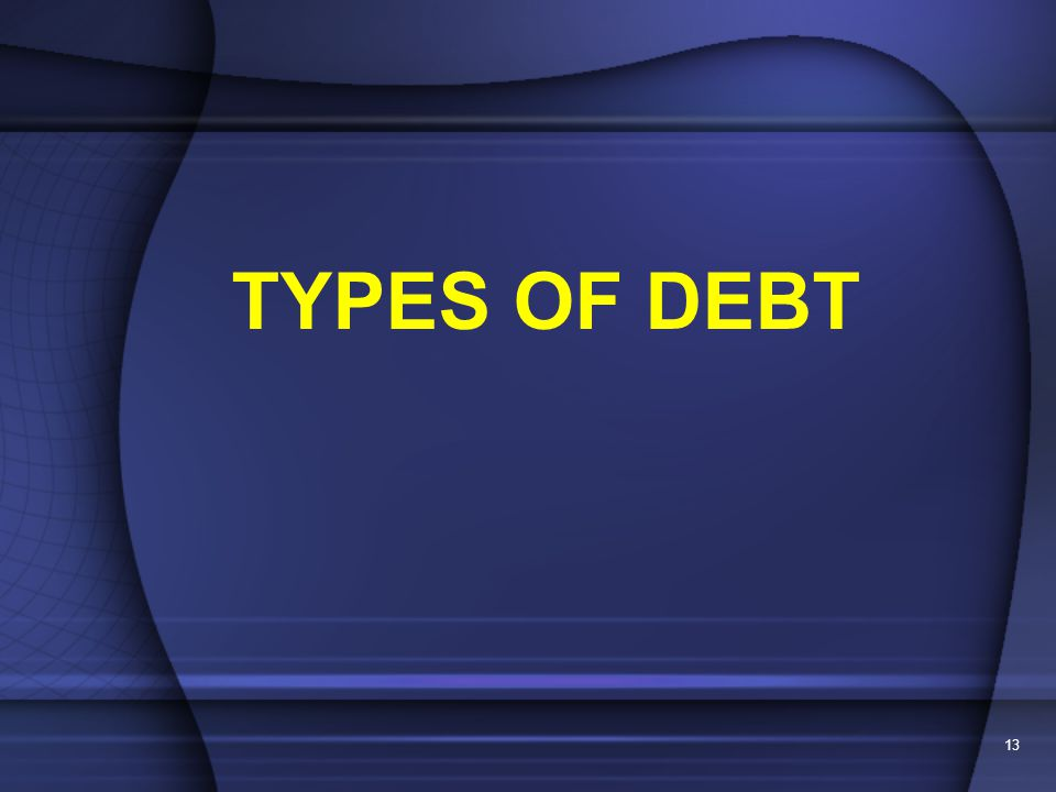 13 TYPES OF DEBT