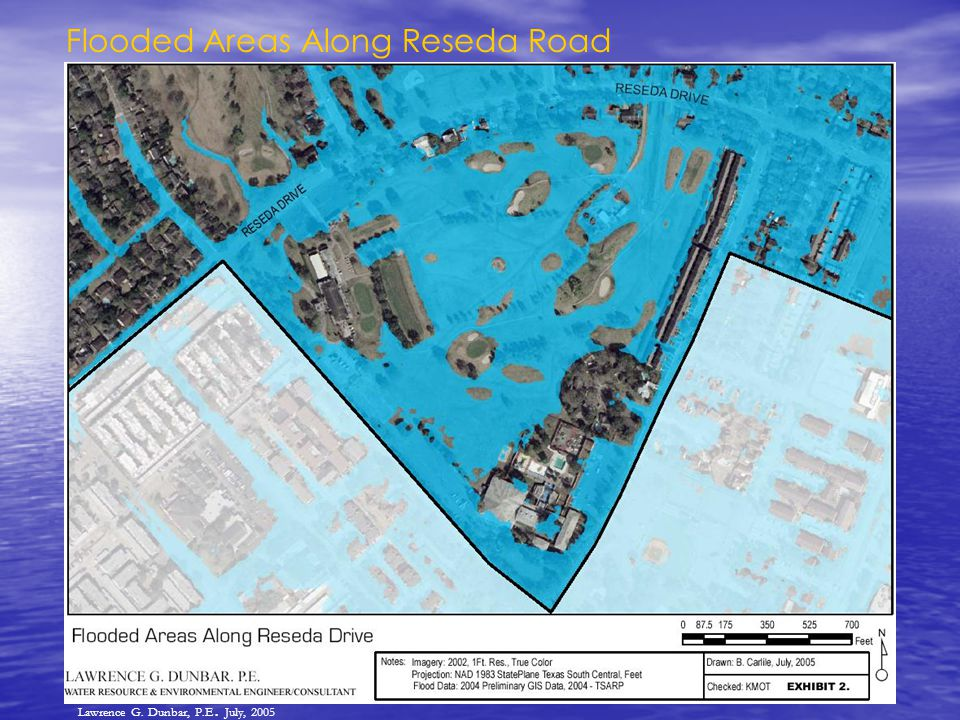 Flooded Areas Along Reseda Road Lawrence G. Dunbar, P.E. July, 2005