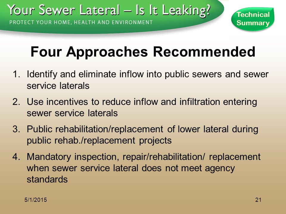 1 - 8 0 0 - S A V E - R - B A Y Four Approaches Recommended 1.Identify and eliminate inflow into public sewers and sewer service laterals 2.Use incent