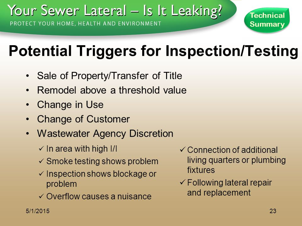 1 - 8 0 0 - S A V E - R - B A Y Potential Triggers for Inspection/Testing Sale of Property/Transfer of Title Remodel above a threshold value Change in