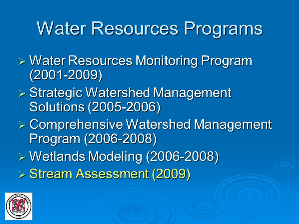 Water Resources Programs  Water Resources Monitoring Program (2001-2009)  Strategic Watershed Management Solutions (2005-2006)  Comprehensive Water