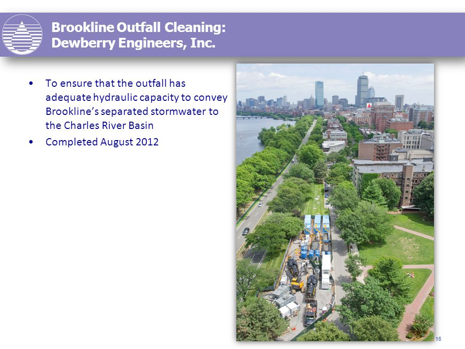 Brookline Outfall Cleaning: Dewberry Engineers, Inc.