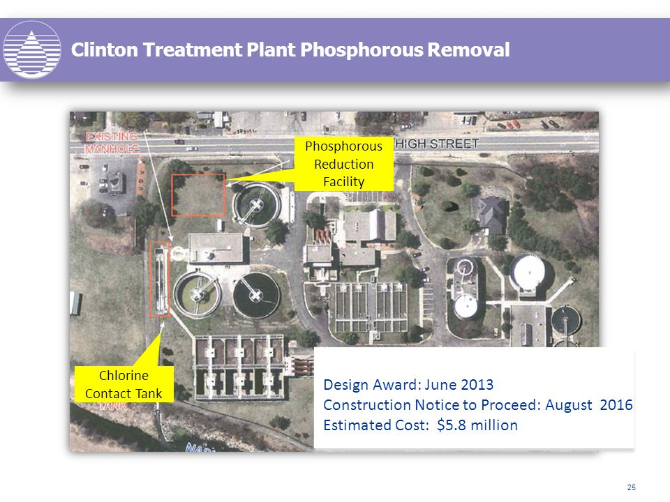 Clinton Treatment Plant Phosphorous Removal 25 Phosphorous Reduction Facility Chlorine Contact Tank Design Award: June 2013 Construction Notice to Proceed: August 2016 Estimated Cost: $5.8 million