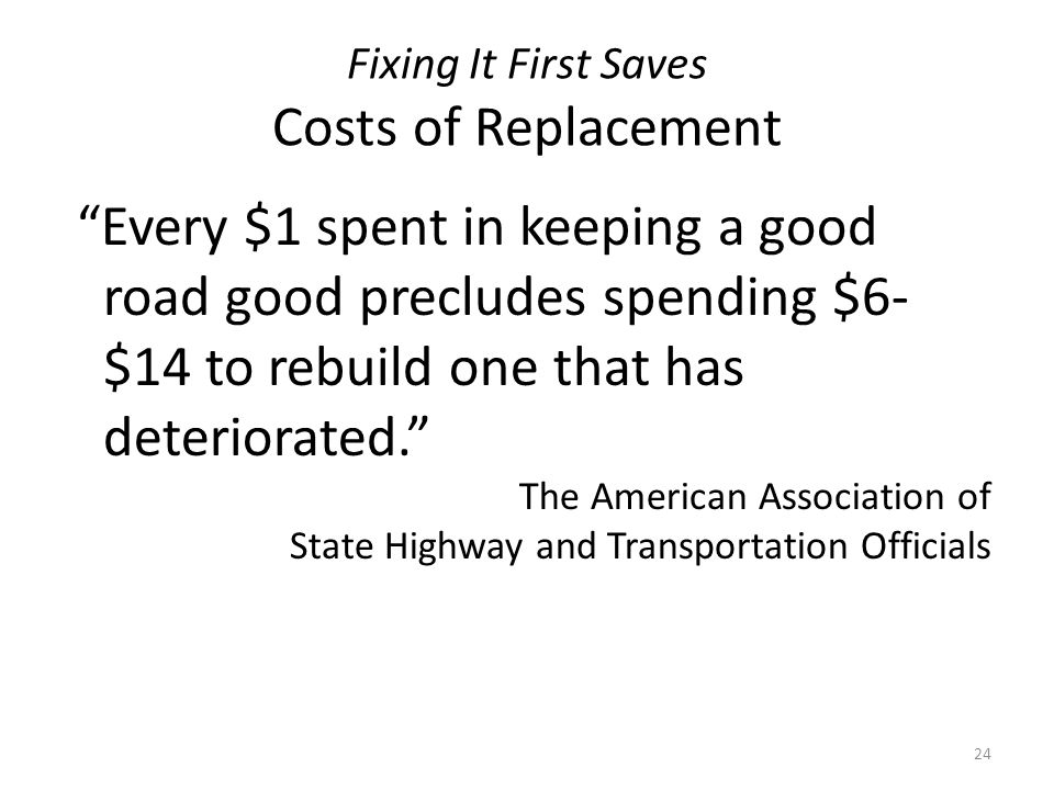Fixing It First Saves Costs of Replacement Every $1 spent in keeping a good road good precludes spending $6- $14 to rebuild one that has deteriorated. The American Association of State Highway and Transportation Officials 24