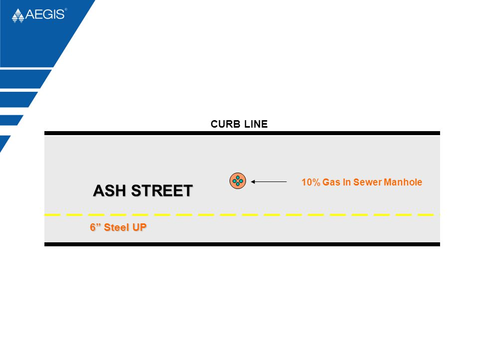 """10% Gas In Sewer Manhole 6"""" Steel UP ASH STREET CURB LINE"""