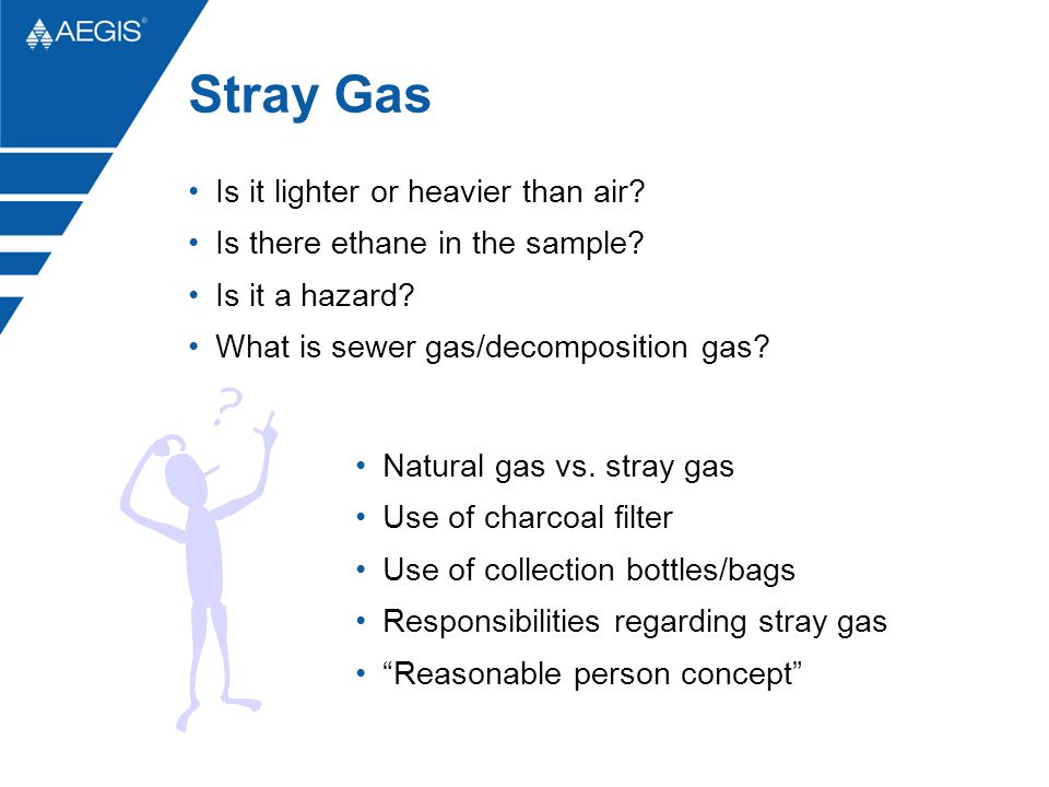 Stray Gas Is it lighter or heavier than air? Is there ethane in the sample? Is it a hazard? What is sewer gas/decomposition gas? Natural gas vs. stray