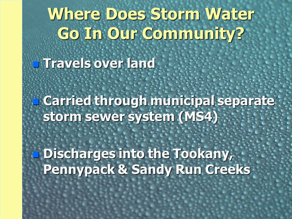 Where Does Storm Water Go In Our Community? n Travels over land n Carried through municipal separate storm sewer system (MS4) n Discharges into the To