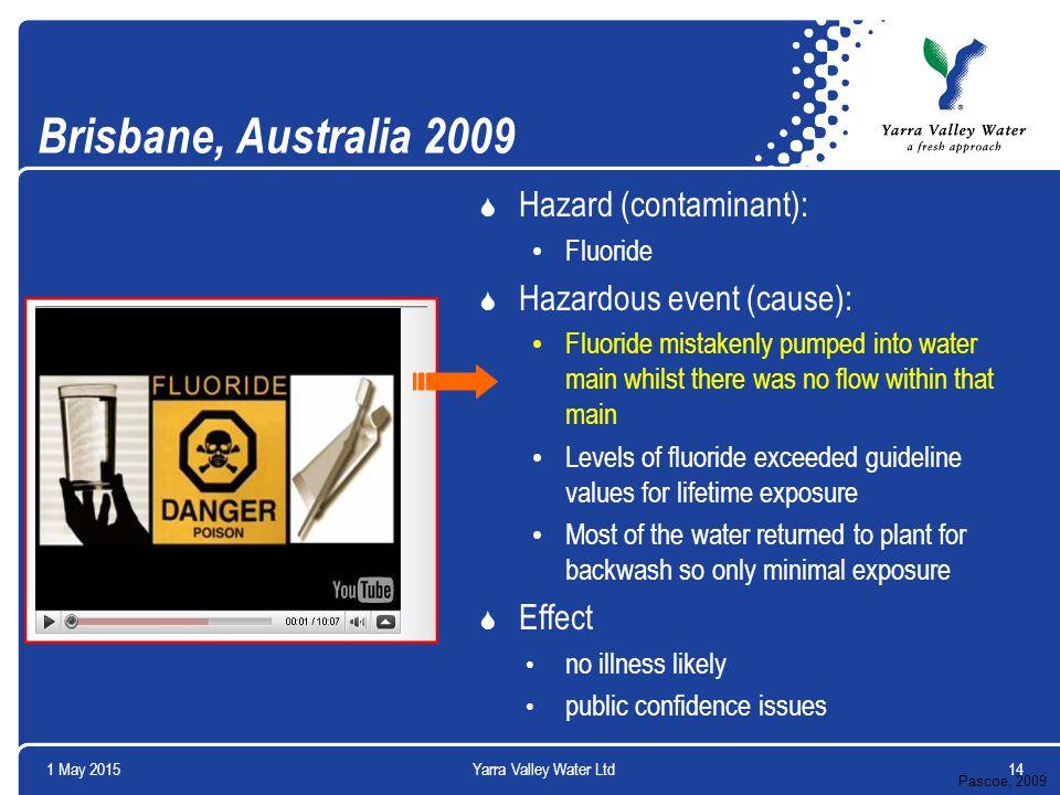 Brisbane, Australia 2009  Hazard (contaminant): Fluoride  Hazardous event (cause): Fluoride mistakenly pumped into water main whilst there was no fl