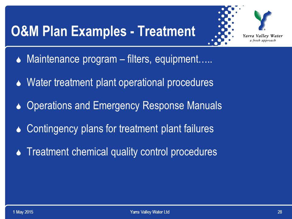 1 May 201528Yarra Valley Water Ltd O&M Plan Examples - Treatment  Maintenance program – filters, equipment…..