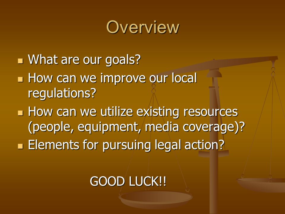 Overview What are our goals? What are our goals? How can we improve our local regulations? How can we improve our local regulations? How can we utiliz