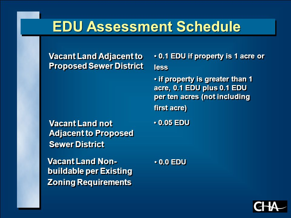EDU Assessment Schedule Single Family Homes including Church Parsonages and Mobile Homes 1.0 EDU if property is 1 acre or less if property is greater than 1 acre, 1.0 EDU plus 0.1 EDU per 10 acres (not including first acre) 1.0 EDU if property is 1 acre or less if property is greater than 1 acre, 1.0 EDU plus 0.1 EDU per 10 acres (not including first acre) Multiple Family Residences 1.0 EDU per residence Seasonal Residences 1.0 EDU Vacant Land Non-buildable per Existing Zoning Requirements 0.0 EDU Motels, Inns and Cottages 0.5 EDU per unit Restaurants 2.0 EDU Marinas 1.0 EDU