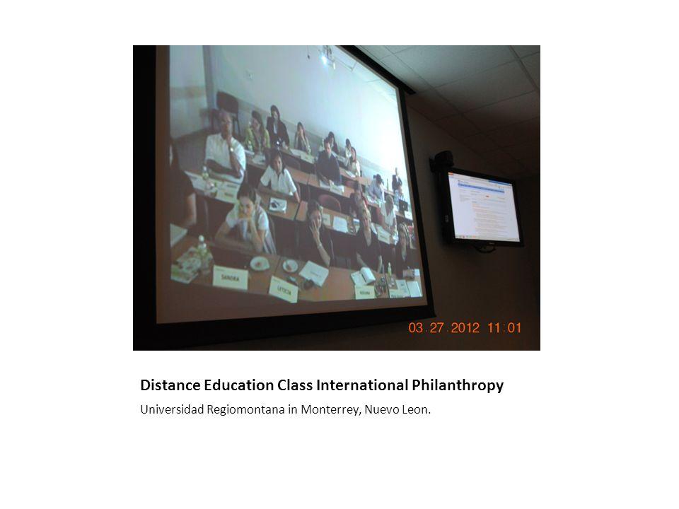 Distance Education Class International Philanthropy Universidad Regiomontana in Monterrey, Nuevo Leon.