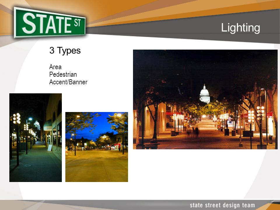 3 Types Area Pedestrian Accent/Banner Lighting