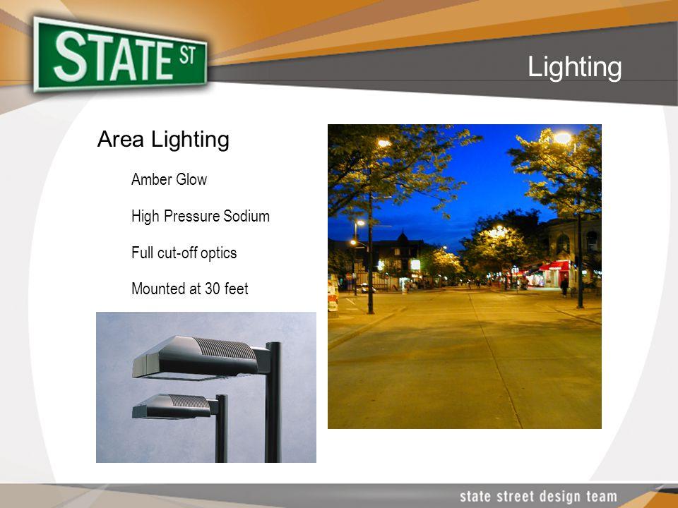 Area Lighting Amber Glow High Pressure Sodium Full cut-off optics Mounted at 30 feet Lighting
