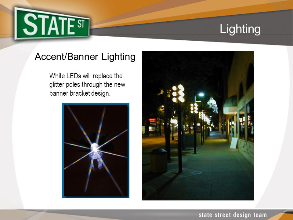 Accent/Banner Lighting White LEDs will replace the glitter poles through the new banner bracket design.