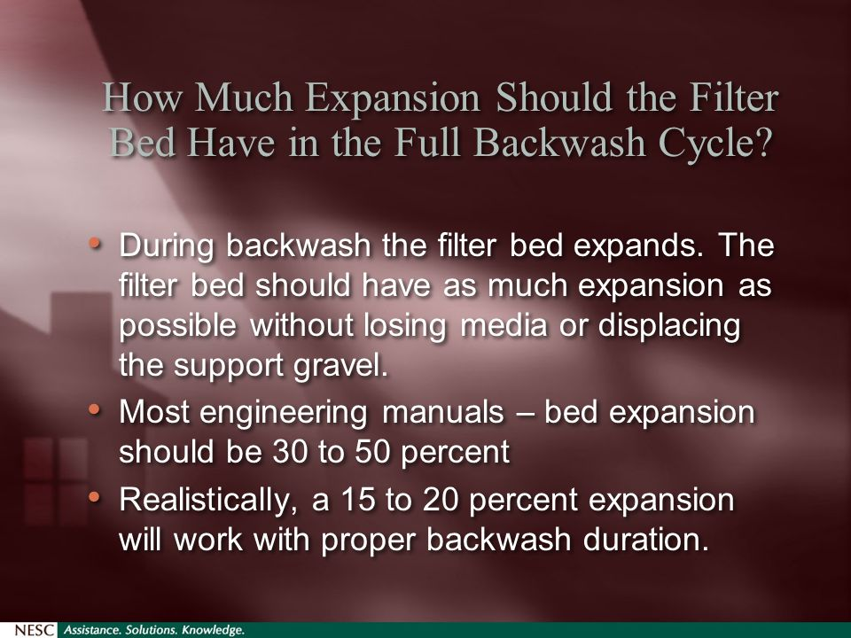 How Much Expansion Should the Filter Bed Have in the Full Backwash Cycle.