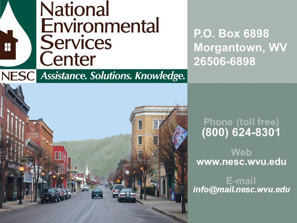 Phone (toll free) (800) 624-8301 Web www.nesc.wvu.edu E-mail info@mail.nesc.wvu.edu P.O. Box 6898 Morgantown, WV 26506-6898